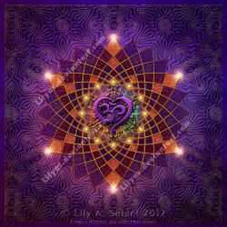 Om Heart Mandala by Lilyas