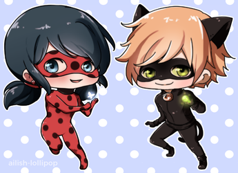Ladybug and Chat Noir by Ailish-Lollipop