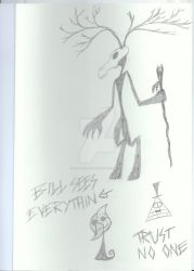 Doodles: Bill Cipher and monsters by KuroRyu-chan
