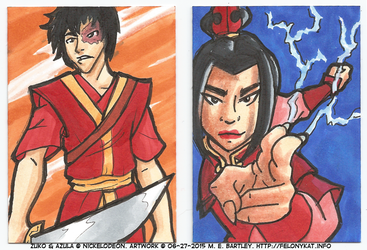 Zuko and Azula Art Cards by generalmanx