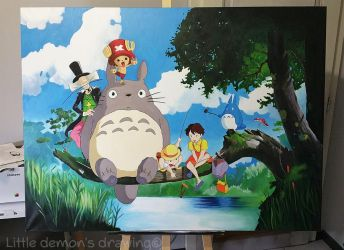 Totoro + One piece painting by ZaykoO
