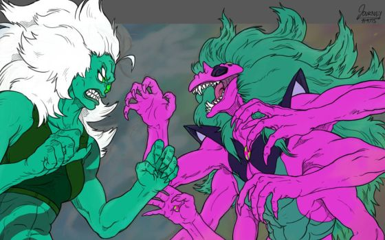 Alexandrite vs Malachite WIP by journemin