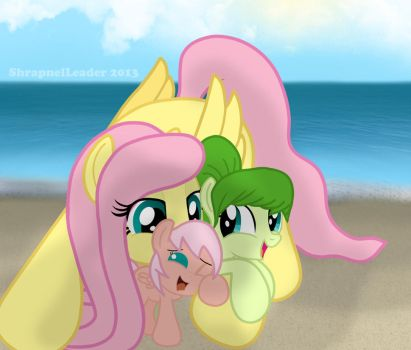 Fluttershy and her Daughters by ShrapnelLeader