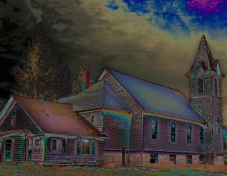 Abandoned Church, Spirit Lake, Idaho, Solarization by quintmckown