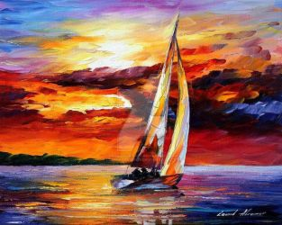 Long Sail by Leonid Afremov by Leonidafremov