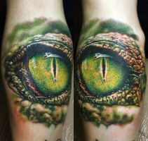 eye crocodile tattoo by NikaSamarina