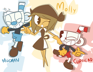 Cuphead and Mugman with Molly .Let's go!. by shadcream4eva
