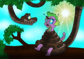 Kaa Captures Spike The Dragon by Kinipharian