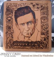 Johnny Cash pyrography by MadTwinsArt