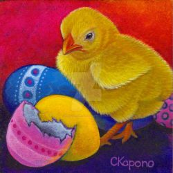 Easter chick and eggs acrylic by MandarinMoon