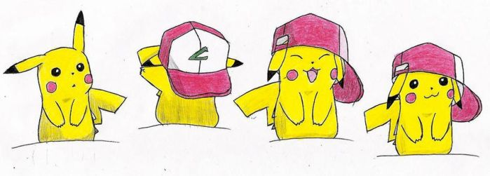 Pikachu With Ash's Hat by melia161