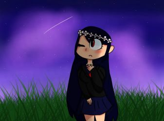 Kizana but shes on grass in space by SHOOTlNG-STAR