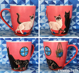 Painted mug: Cats commission by Eleweth