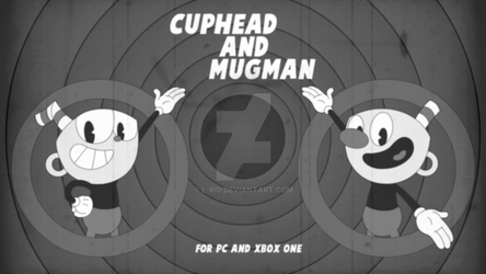 Cuphead and Mugman Ad (Black and White) by L-Rid