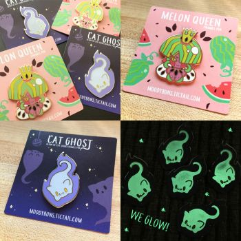 Melon Queen and Cat Ghost Pins by MissMaddyTaylor