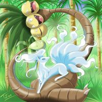 Ninetales Exeggutor Pokemon Sun Pokemon Moon by tatanRG