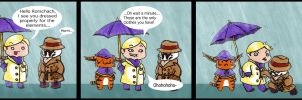 Watchmen chibis- Rainy day by BeagleTsuin