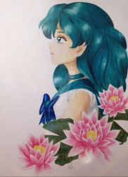 Sailor Neptune and Lilies by Elveariel