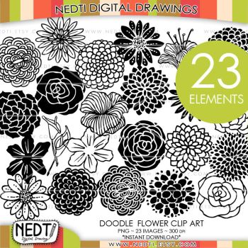 Flower Hand Drawn Clipart by Nedti by Nedti
