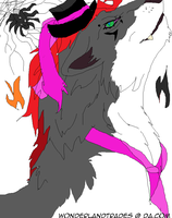 Wolf and Spider (color) - Read -- MS PAINT doodler by WonderlandTrades