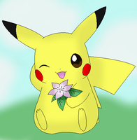 Pikachu Lineart colored by Thongchan