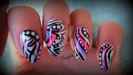 Abstract Tribal Nail Art ~ No2 by Danijella