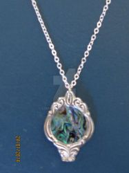 Upcycled silverware pendant with Paua shell insert by lousephyr