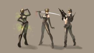 Sci-fi girls by E-sketches
