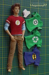 1/ 6 scale Sheldon Cooper T shirts with Ken doll by Hegemony77