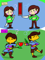 Chara and Frisk by ASmallOne