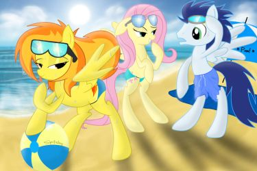 Spitfire...at the beach with Fluttershy and Soarin by Spitshy