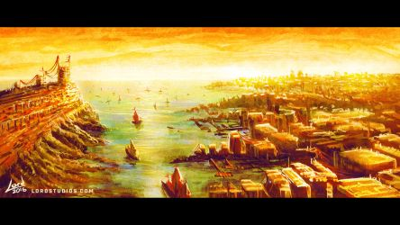 Medieval Port City Painting Practice by RyanLord