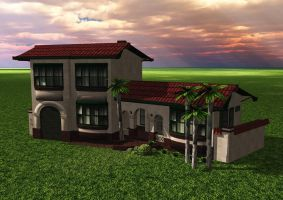 Low Poly Spanish Mission HomeA by Ixionx