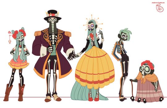 Character Design - Day of the Dead Family by MeoMai