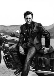 Hugh Laurie on a Motorcycle by StarryAugen