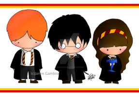 Harry, Ron, and Hermione by penguinkirby