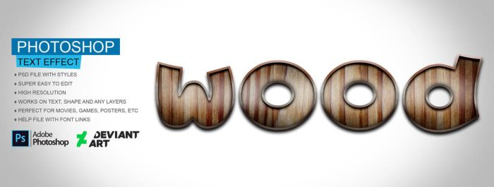 Wood Text Effect PSD File by Gitaputri