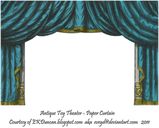 Teal Toy Theater Curtain 3 by EveyD