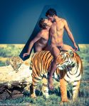 Male nudes and White Tigers by TheMaleNudeStock