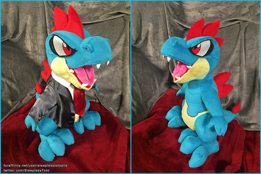 Toshabi Croconaw Plush Commission by SleeplessTotodile