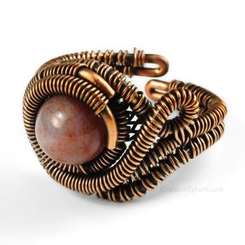 Copper and Fancy Jasper Adjustable Ring by Gailavira