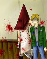 Pyramid Head Love by thecatatnight