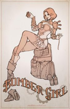 Bomber Girl Pin-up Sketch by eloel
