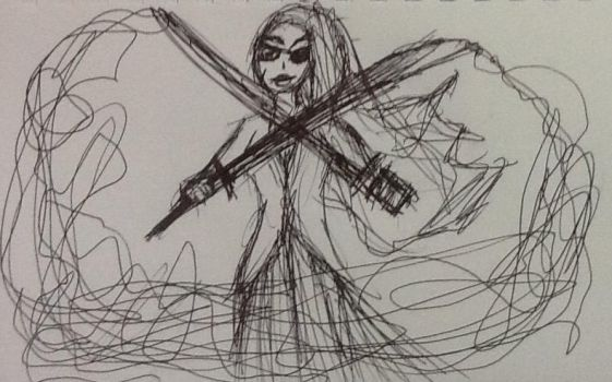 Bad pen sketch of a pirate girl with two swords by Drawingsomecrap