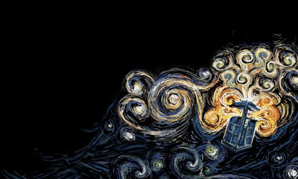 TARDIS Wallpaper Van Gogh Style. by Koshka-Stuff