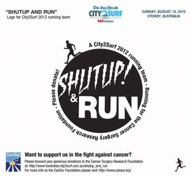 Shutup and Run City2Surf Logo for Cancer by neonlargo