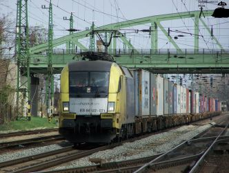 ES 64 U2 071 with container train in Komarom by MorpheusPhotoworks