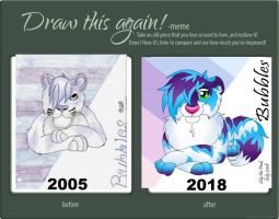 Draw it again meme - Bubbles 2005 vs 2018 by Lily-the-pink
