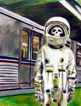 Skull Subway Oil Painting by mentos888