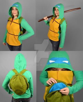 TMNT Leonardo Hoodie with Shell Backpack by SewDesuNe